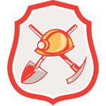 Illustration of a miner hardhat spade crossed pick axe set inside shield crest on isolated background done in retro style.